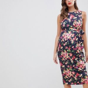 ASOS design maternity knot midi dress in floral